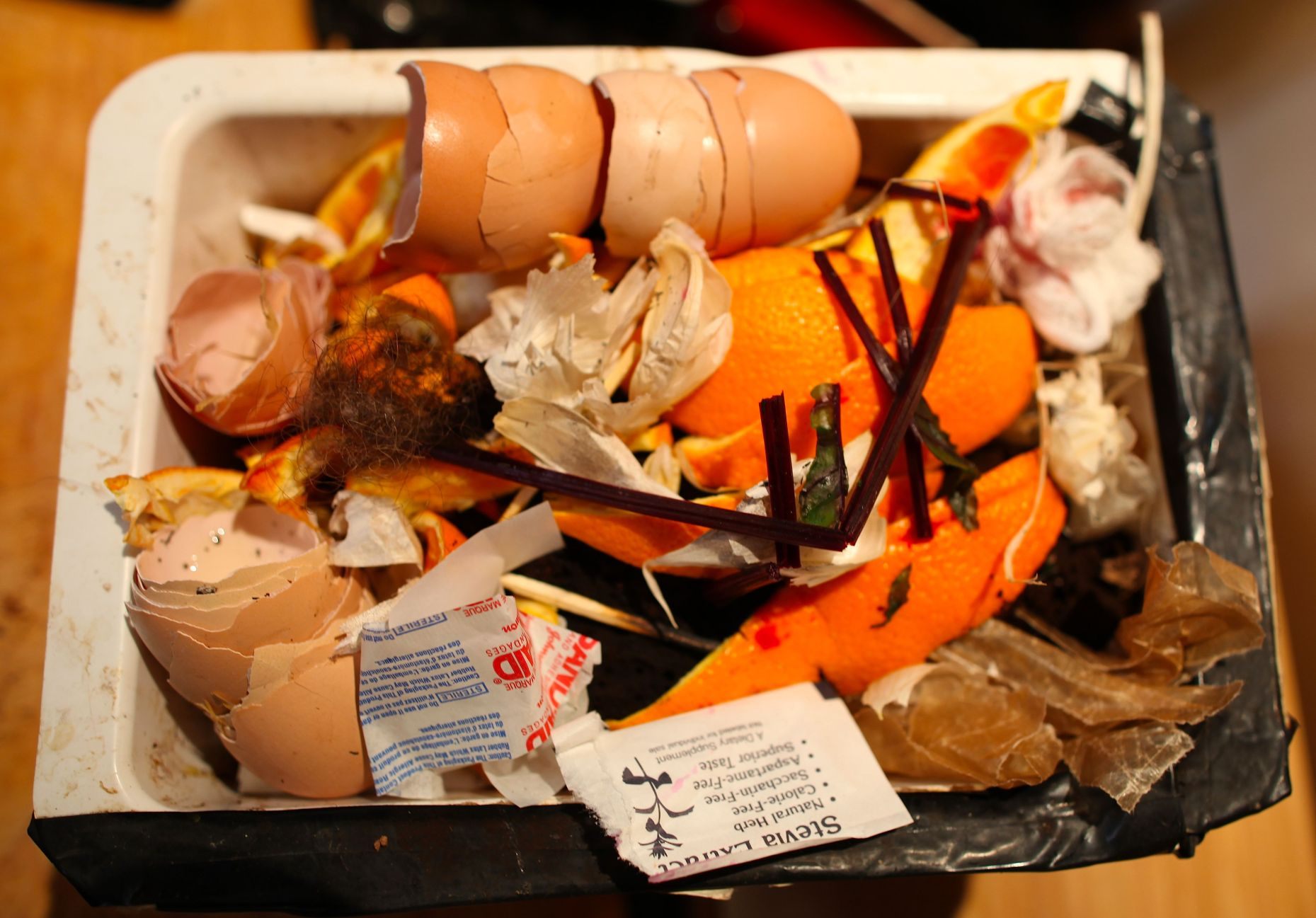 What's in Our Compost? Paper scraps, hair, pet fur, wax paper, egg shells, cotton fabrics, string....