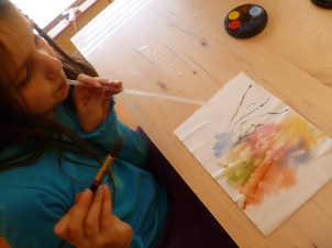 Paint with a straw - This works perfectly with watercolors on dry and wet paper; try other paints, too and tell us how it goes!