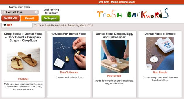 Click Through for Dental Floss Reuses at Trash Backwards