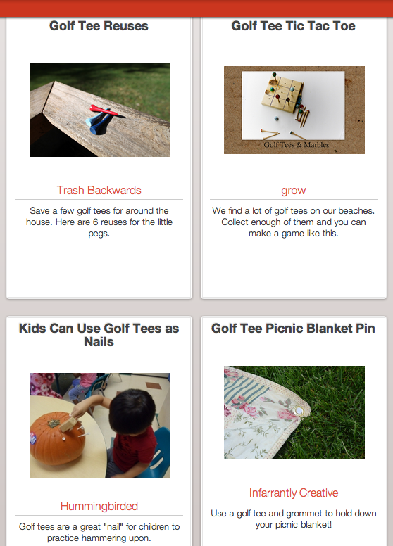Click Through for Golf Tee Reuses at Trash Backwards
