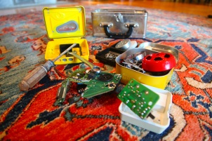 This inventor's kit is evolving. It's full of fascinating defunct e-waste like a walkman, mini motherboards and alarm clocks. Photo: Liesl Clark
