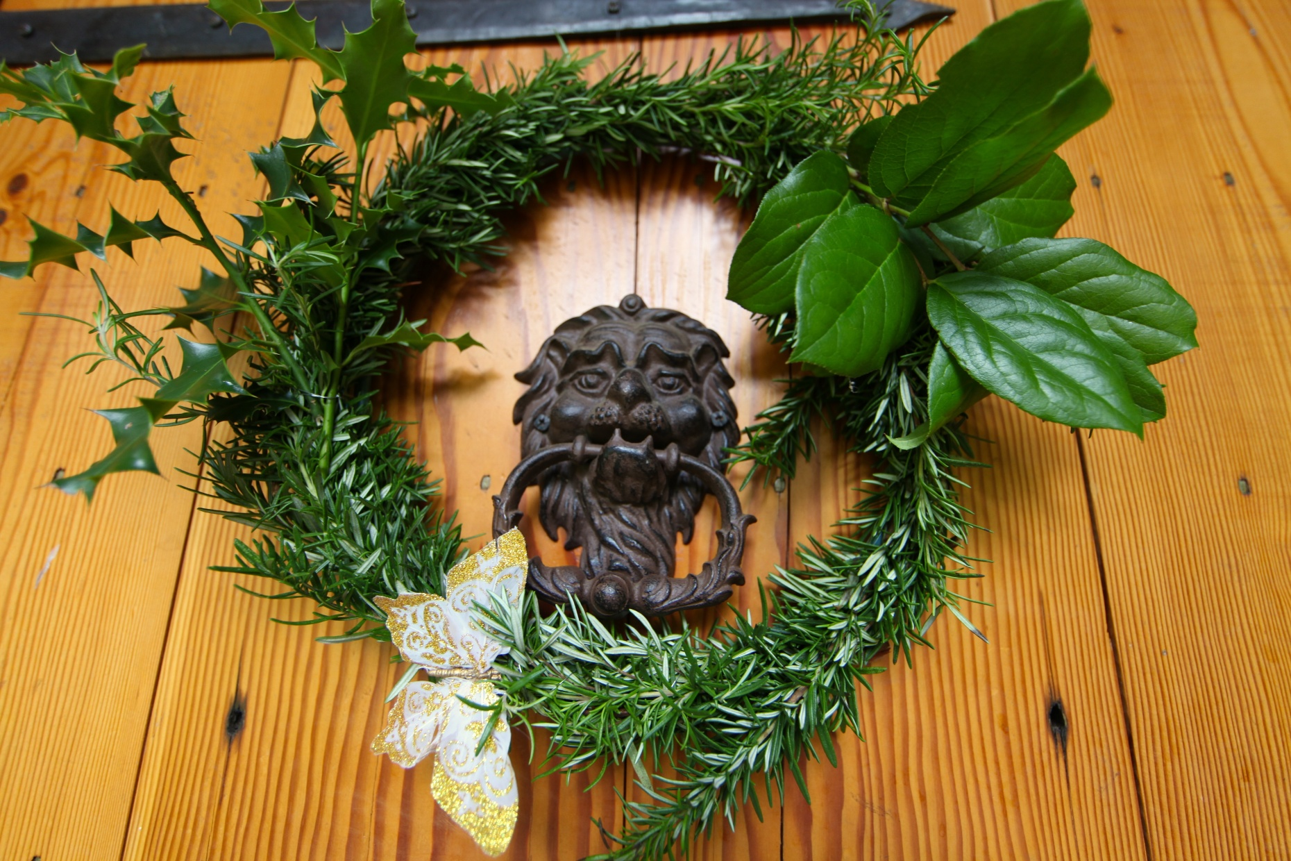 Rosemary Wreath, All From Salvaged Materials. Photo © Liesl Clark