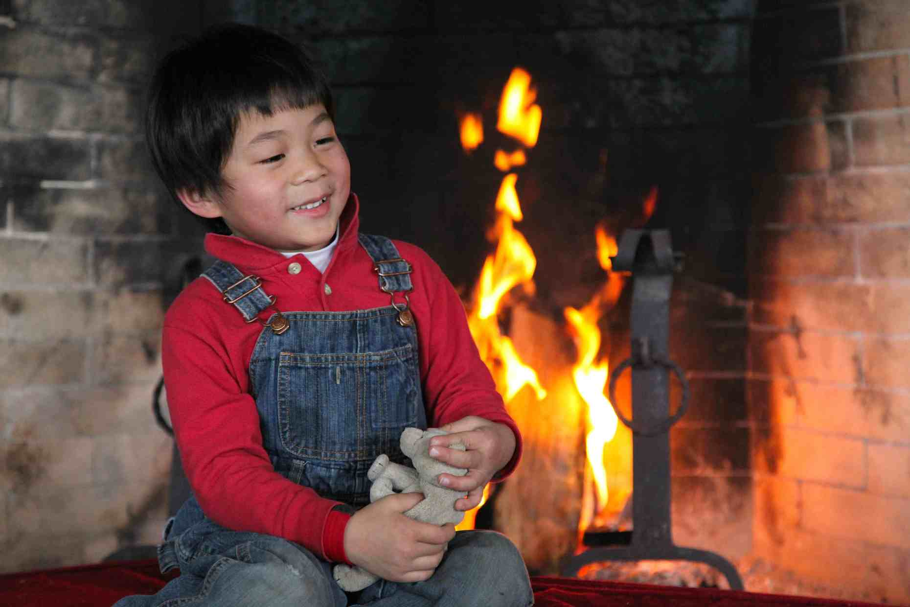 Our warm winter fire by home-made fire starters brings smiles.