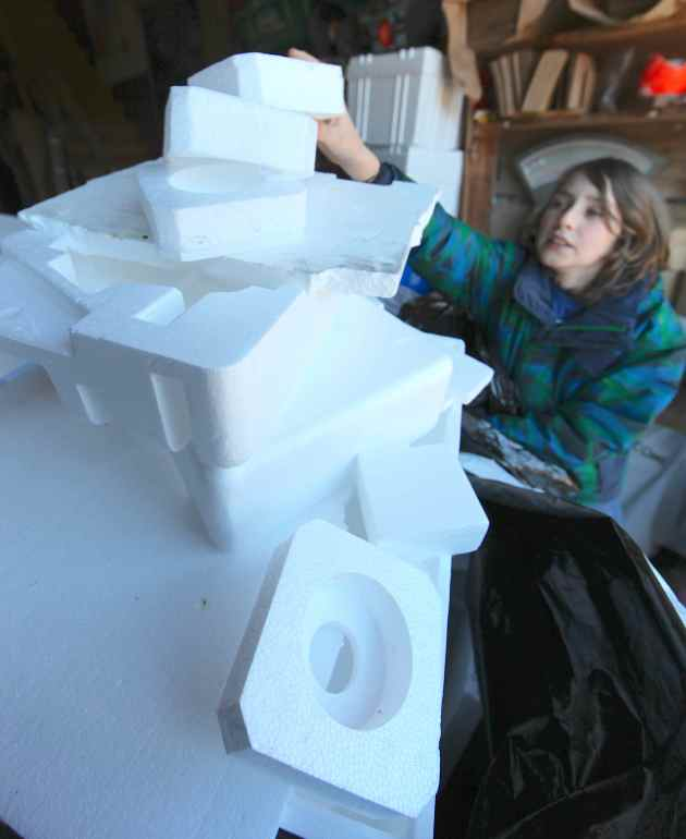 Recycling Styrofoam at Bay Hay and Feed. Photo © Liesl Clark