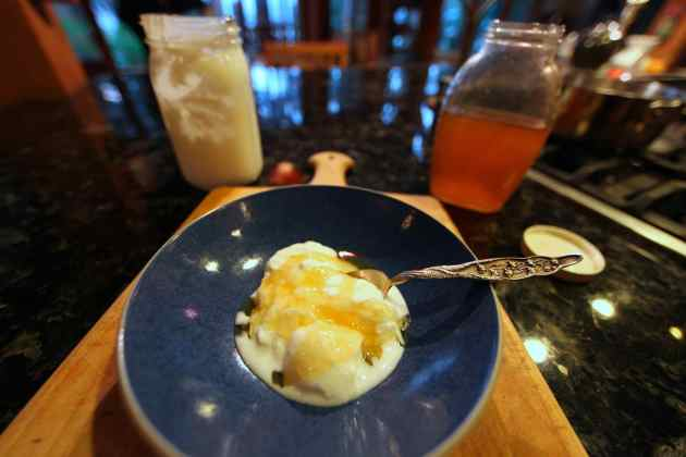 Off-the grid yogurt with honey from our bees. Photo © Liesl Clark