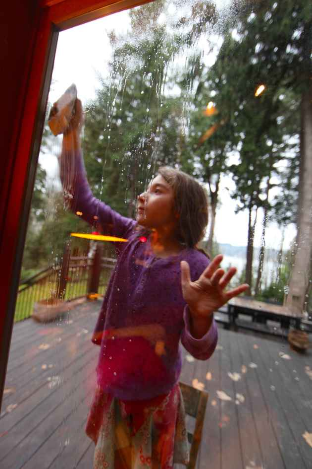Kids Love to Wash Windows. Give Them Some Newsprint and Let 'Em Go! Photo © Liesl Clark
