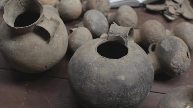 3000 year old funerary pots recovered from caves in Mustang, Nepal. Photo © Pete Athans