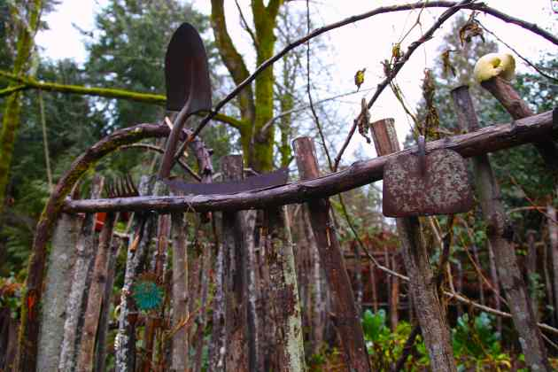Retirement home for our old garden tool heads? The veggie garden fence. Photo © Liesl Clark