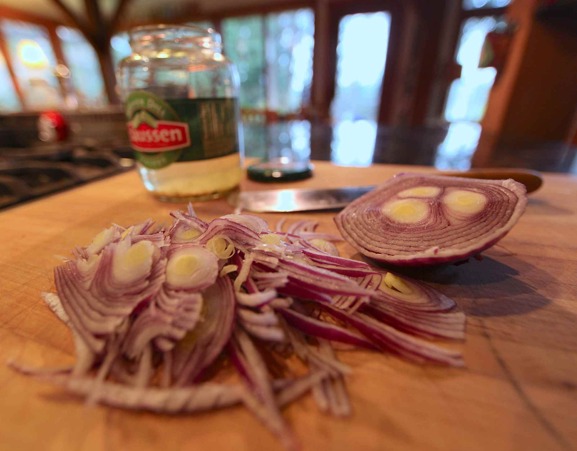Thinly sliced Spanish onion is perfect for pickling. Photo © Liesl Clark