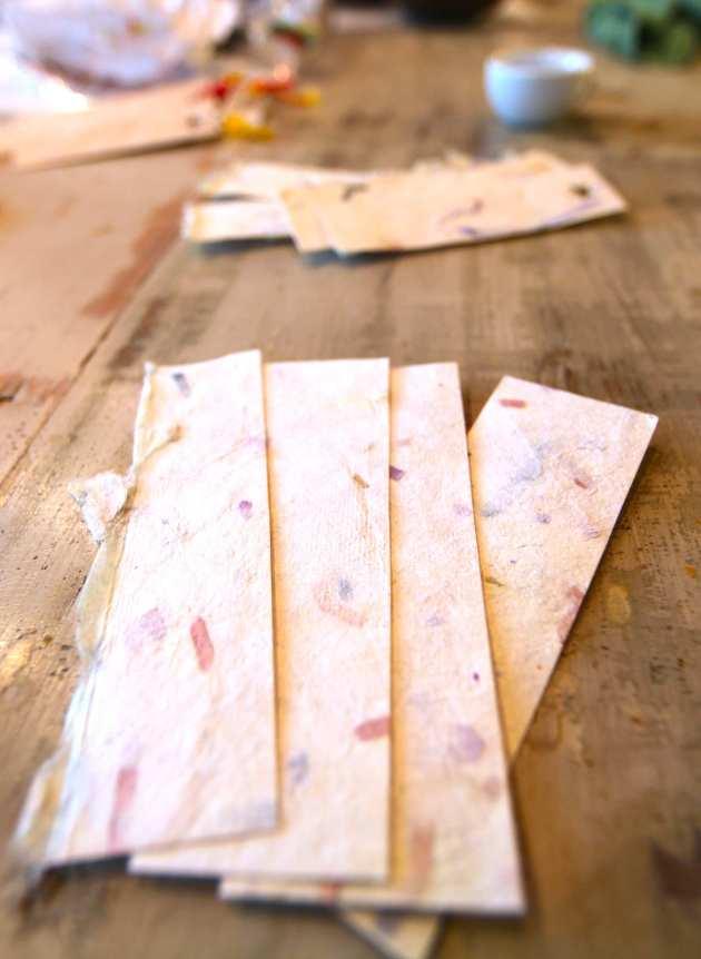 Paper strips from handmade paper. Photo © Liesl Clark