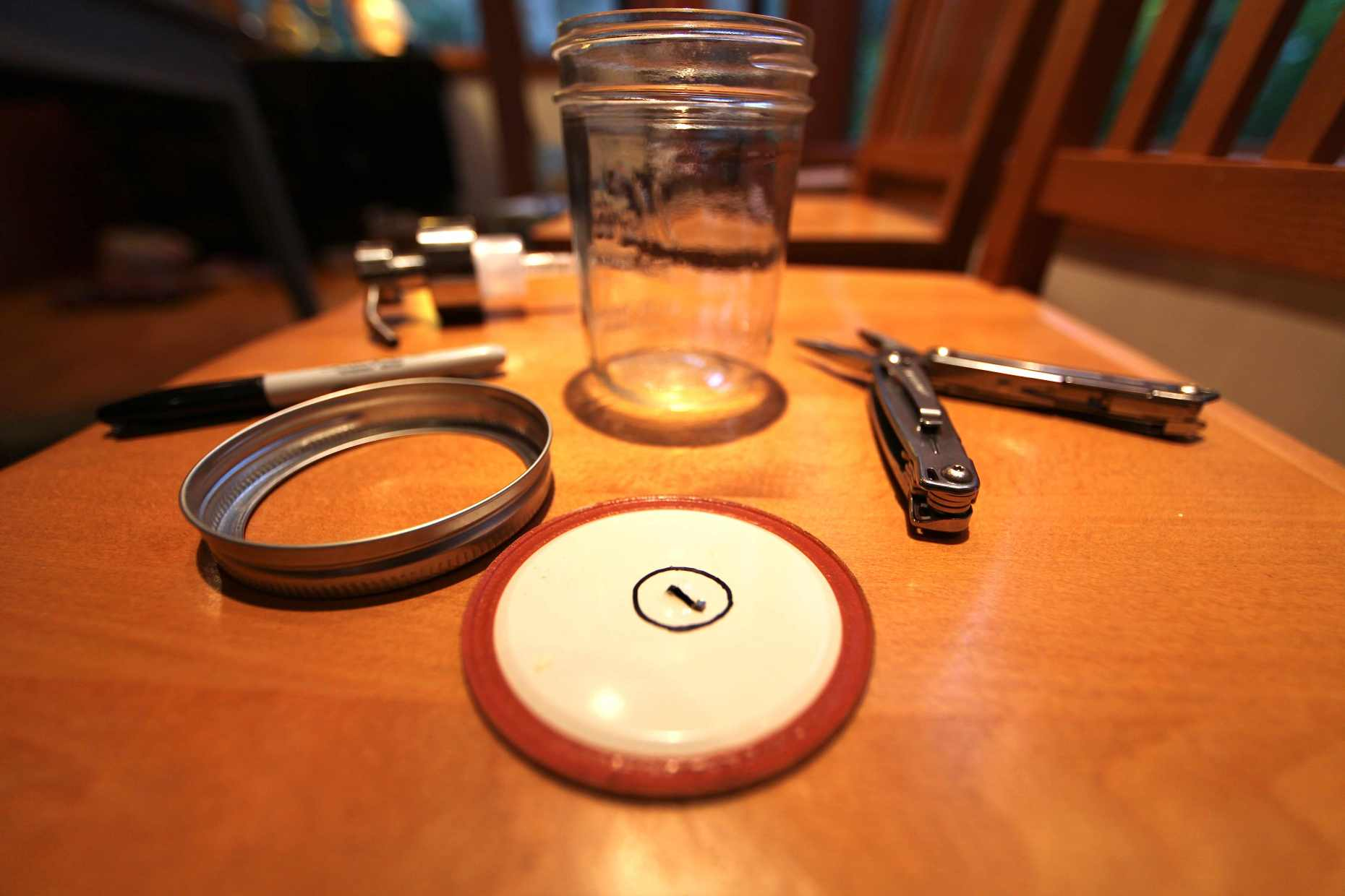 Mason Jar + Lid, Pliers, Sharpie, and Pump. Photo © Liesl Clark