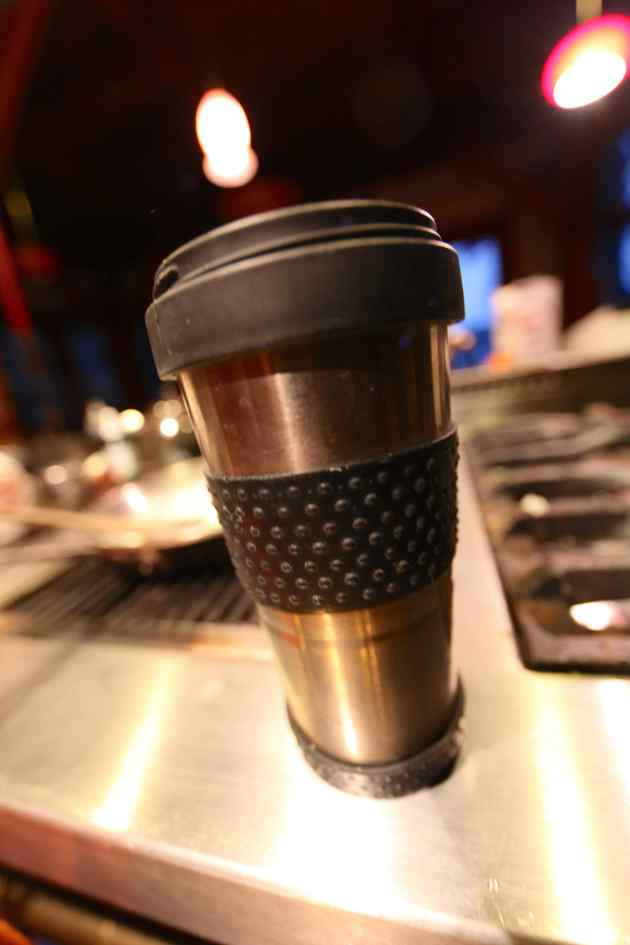 Stainless Steel Insulated Reusable Coffee Mug. Swank. Photo © Liesl Clark