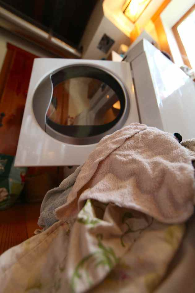 2-3 weeks-worth of cloth rags in line for laundering = sustainable replacement for paper towels. Photo © Liesl Clark