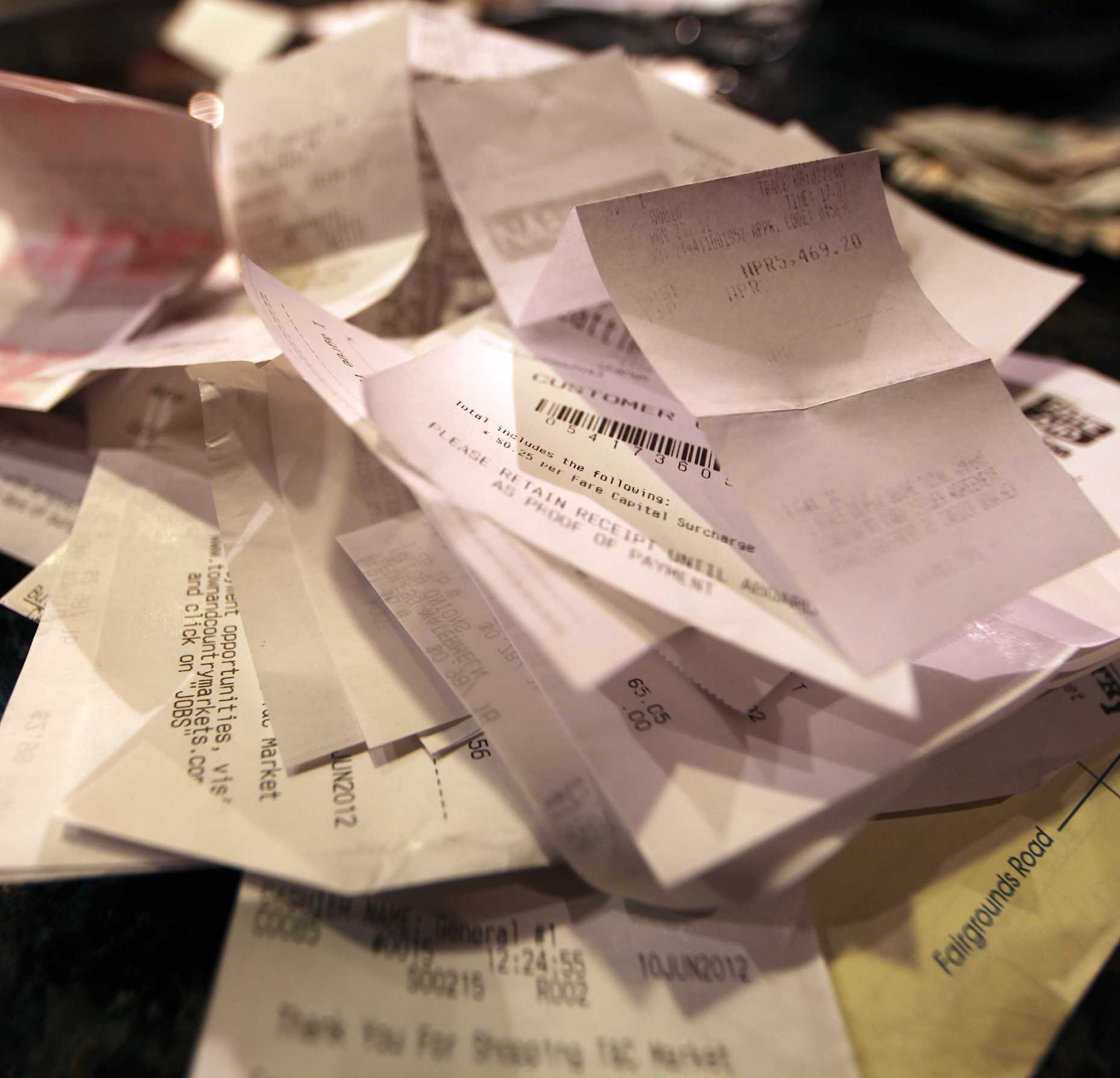 The bad guys: Thermal receipts have more BPA (that transfers into your skin upon contact) than any other paper, can, or plastic. Photo © Liesl Clark