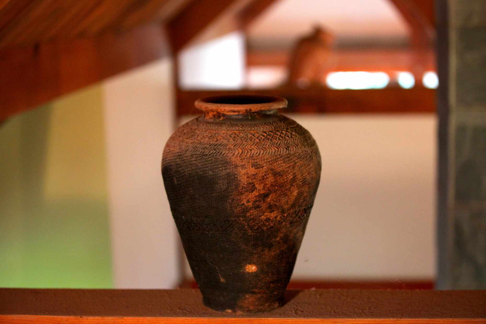 Ancient Pots on Wooden Beams. Only Safe Place in the House. Until Willa. Photo © Liesl Clark