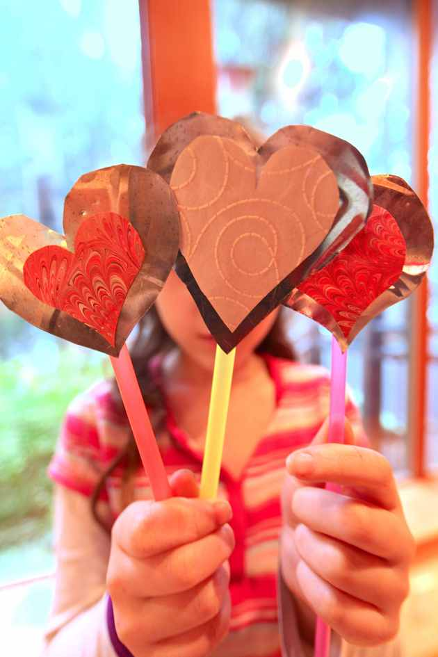 Heart Wands From Pie Tins and Straws. Photo © Liesl Clark