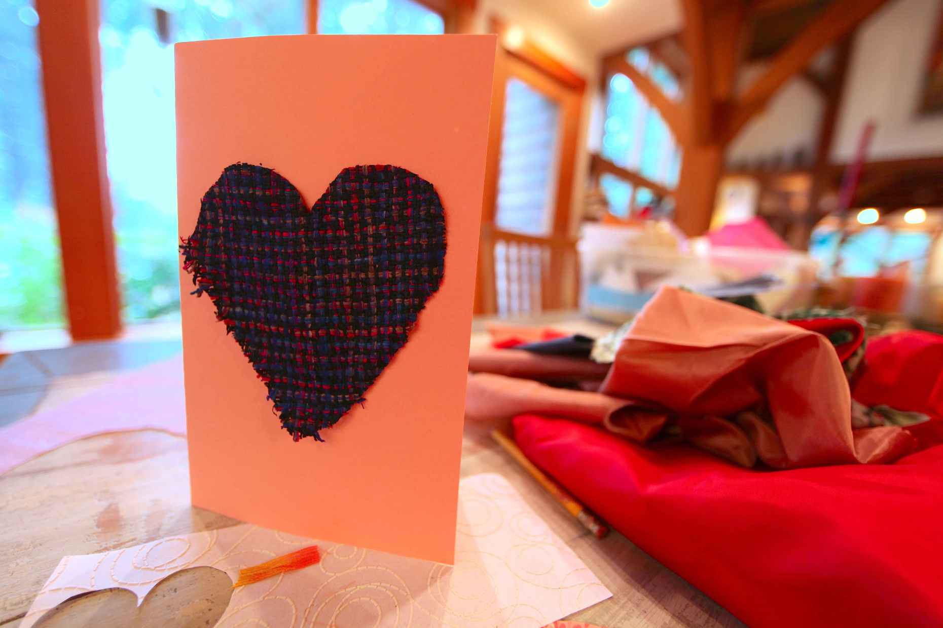 Add a fabric scrap to your valentine for a more 3D effect. Photo © Liesl Clark
