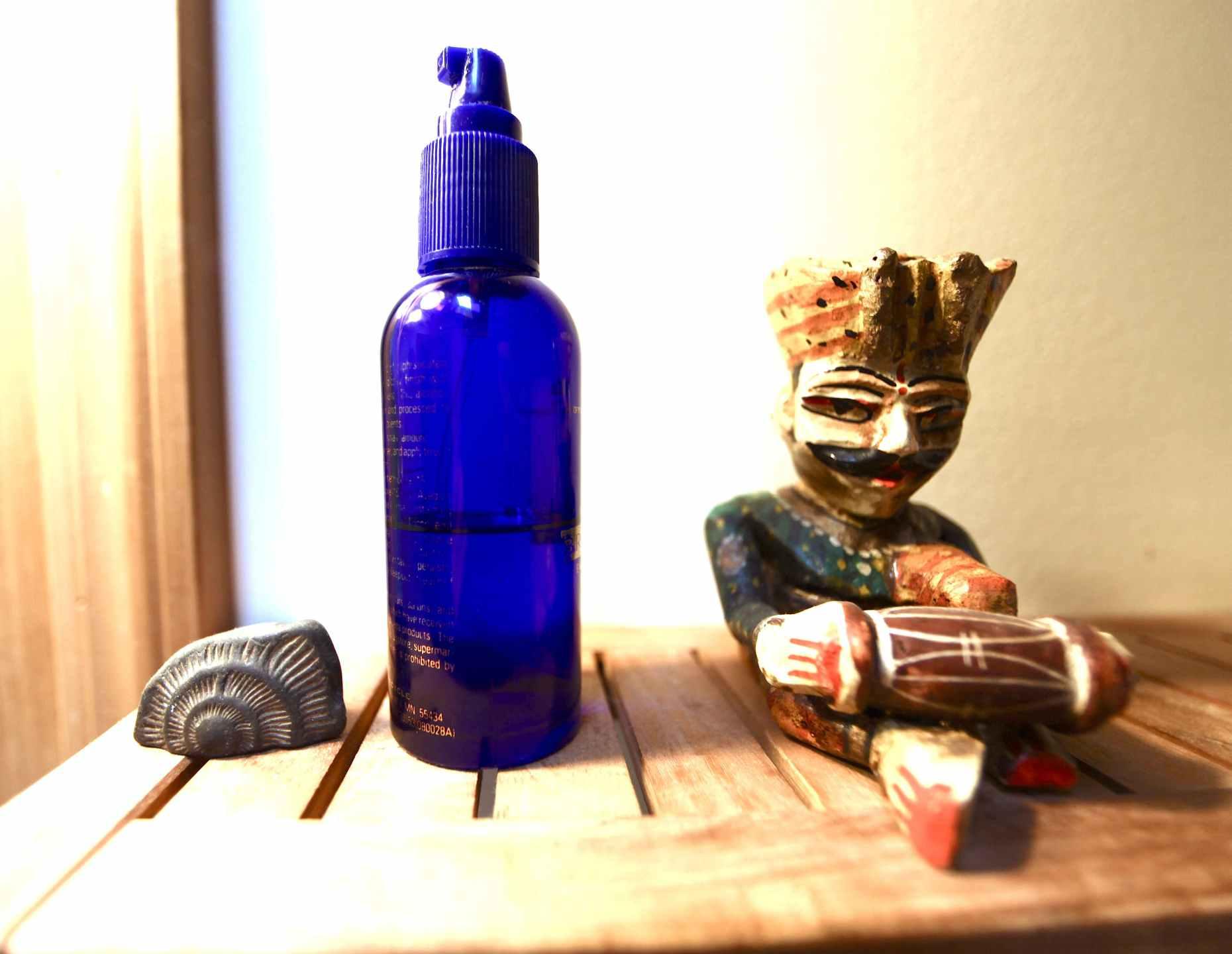 Our detangler bottle is an old Aveda bottle. Photo © Liesl Clark