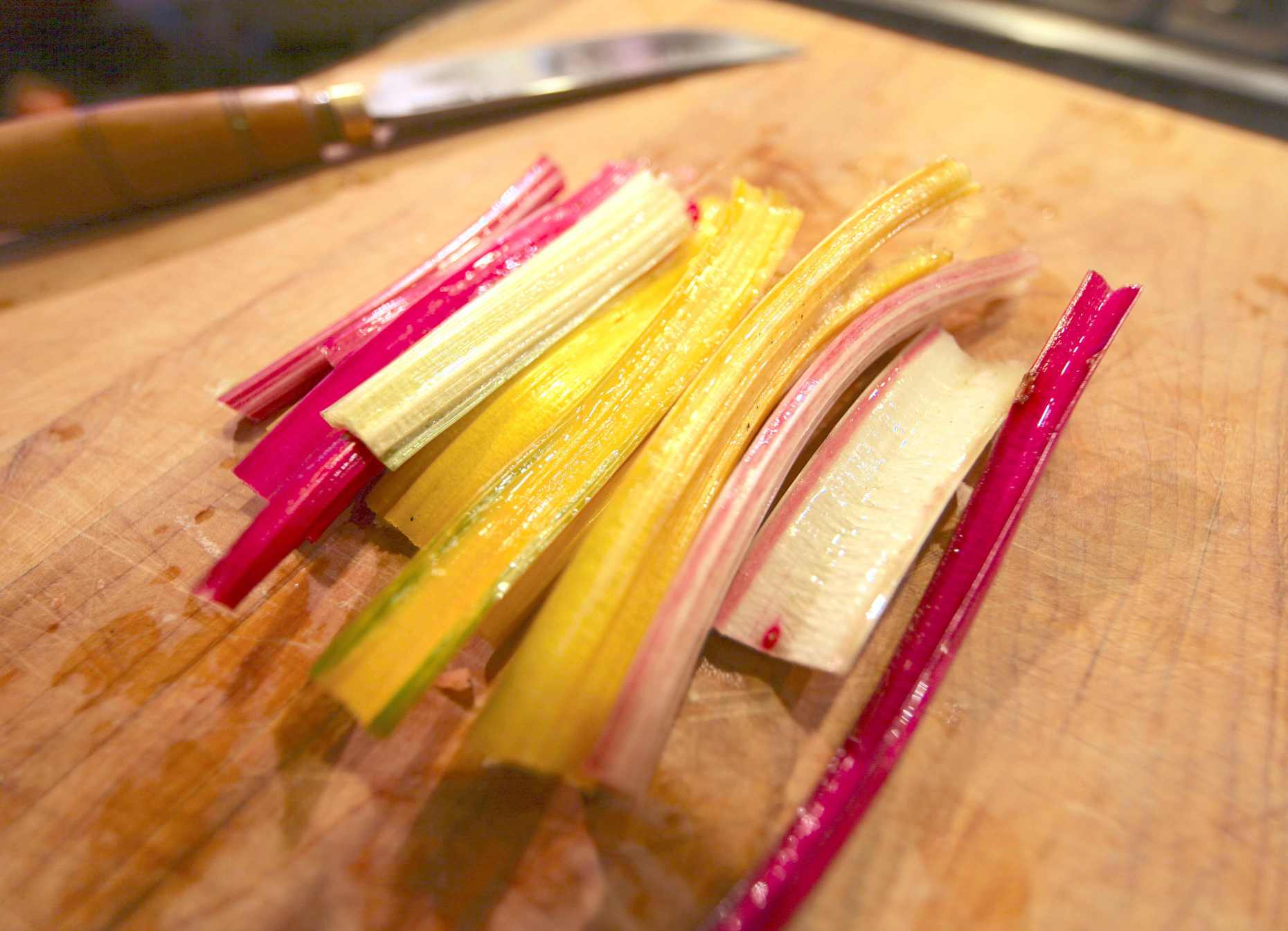 Swiss Chard Stalks are Pretty and Delicious. Photo © Liesl Clark