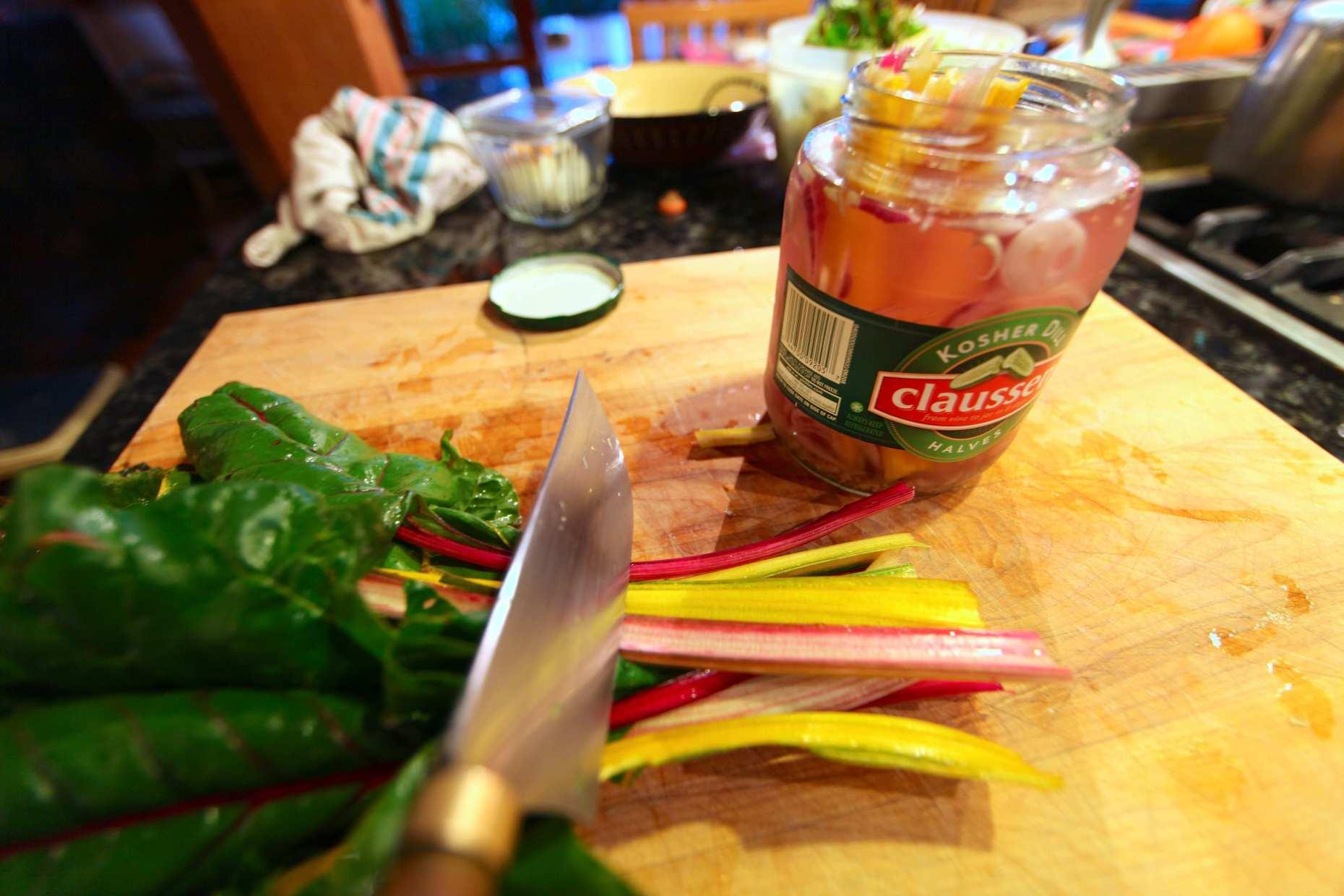Raw Claussen Swiss Chard Stalk Pickles. Photo © Liesl Clark