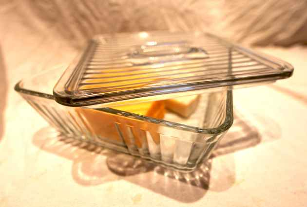 A large glass cheese box, French-style, for keeping our cheeses fresh. Photo © Liesl Clark