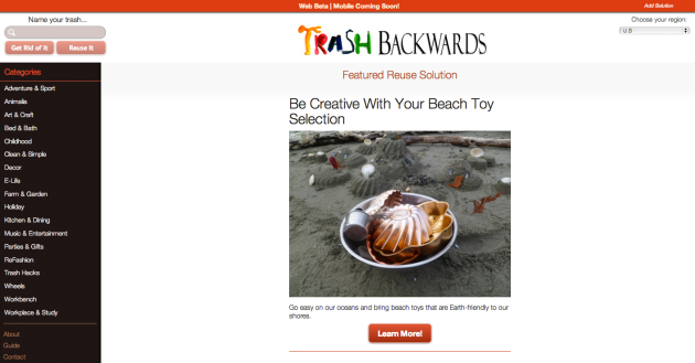 Click Through to Browse by Lifestyle Category  to Find Positive Reduce, Reuse, and Recycle Ideas at Trash Backwards