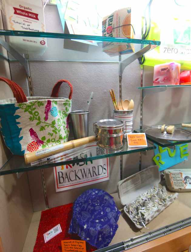 A display case at Bainbridge Island's Public Library enables us to get out there to show our wares. Photo © Liesl Clark