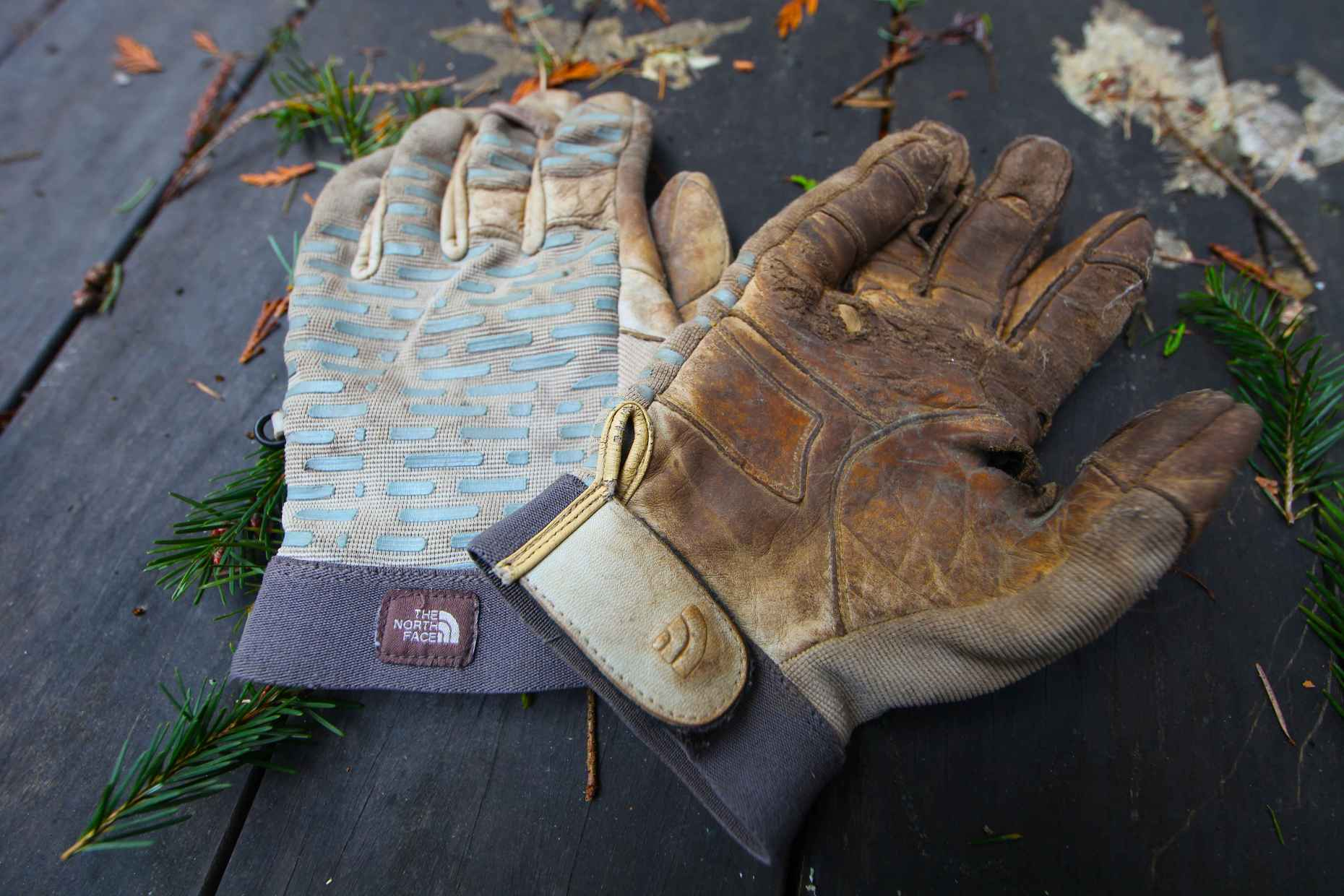 My favorite TNF gloves, now safely in the bin. Photo © Liesl Clark