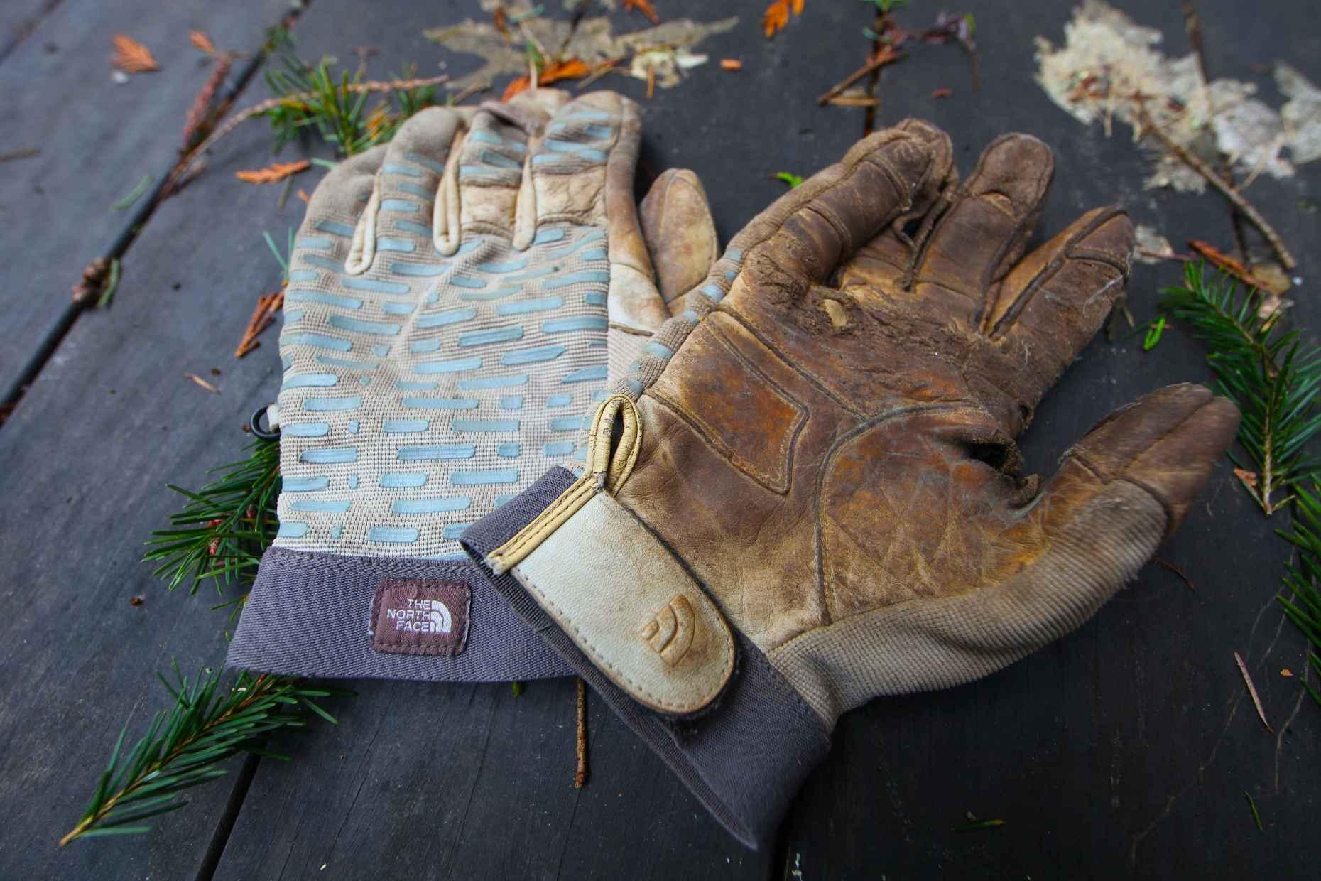 My favorite TNF gloves, now safely in the bin. Photo © Liesl Clark