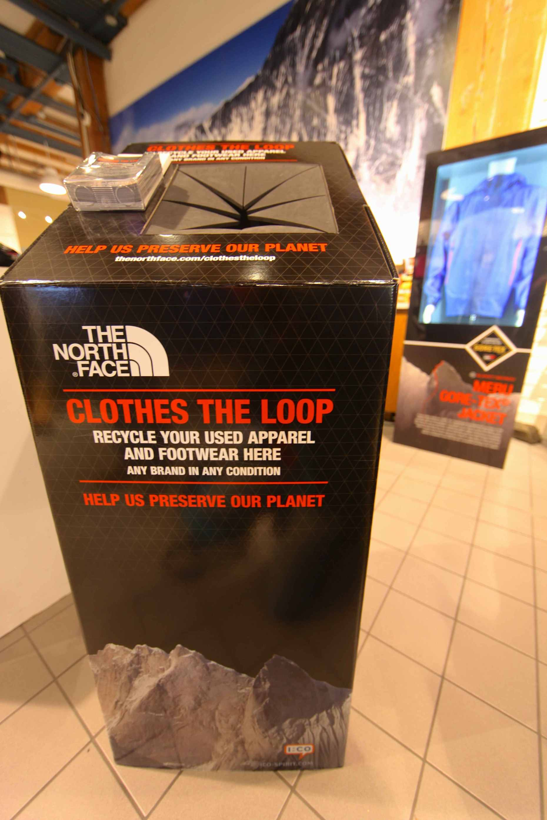 "Drop your old apparel, any brand, into a ""Clothes the Loop"" bin at The North Face store."