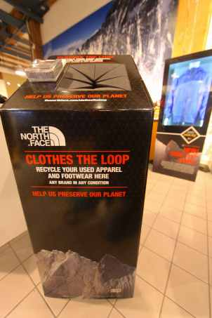 """Drop your old apparel, any brand, into a """"Clothes the Loop"""" bin at The North Face store."""