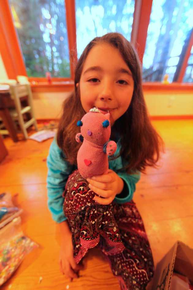 Sock + Rubber Bands + Bits & Bobs = Sock Hippo. Photo © Liesl Clark