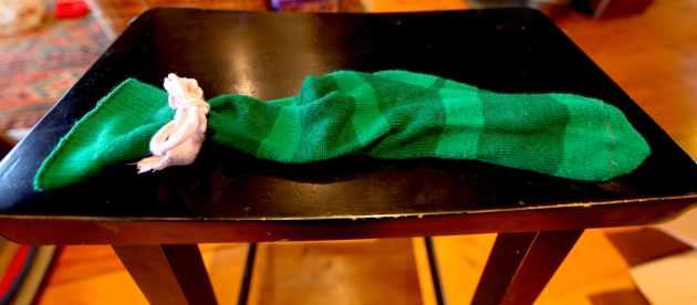 Sock Ribbon to Tie Up Your Sock Utensil Holder. Photo © Liesl Clark