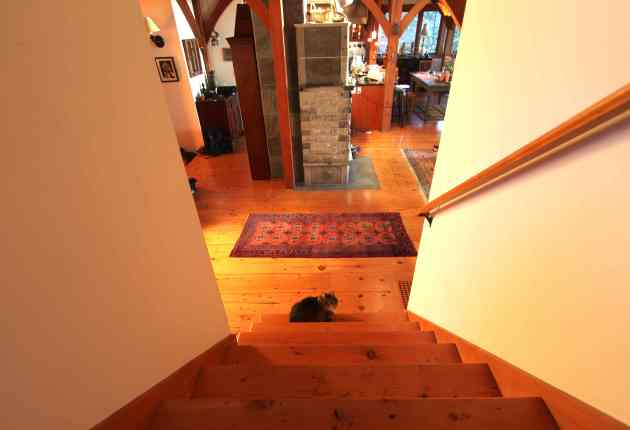 We used to come down the stairs and slip on the carpet (even though it had a pad.) Slip no more! Photo © Liesl Clark