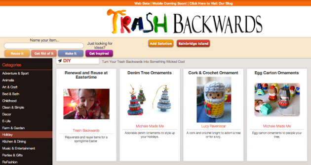 Click Through for Holiday ideas at Trash Backwards