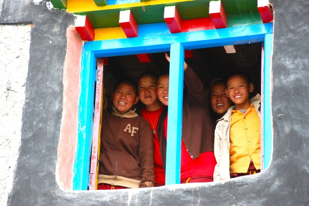 The Girls of the Tsarang Ani School Looking Out the Window of Their Magic Yeti Library.