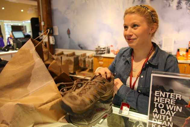 The North Face Store in Downtown Seattle donates used trekking shoes to go to Nepal. Photo © Liesl Clark