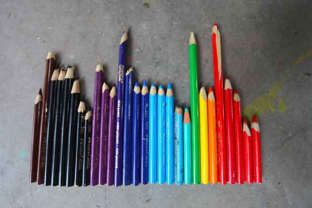 These discarded colored pencils will bring joy to children living at 14,000 feet in the rainshadow of the Himalaya. Trash. Backwards.