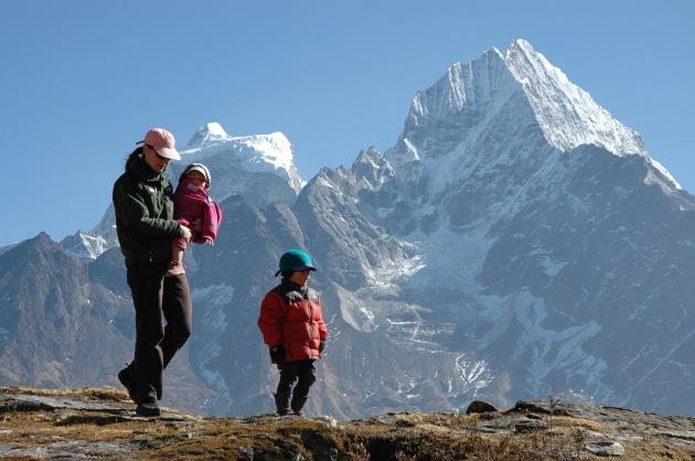 On a Walk Above the Khumjung School With My Children. Photo © Liesl Clark