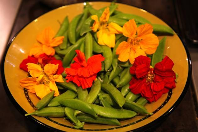 Nasturtiums and Peas. Photo © Liesl Clark