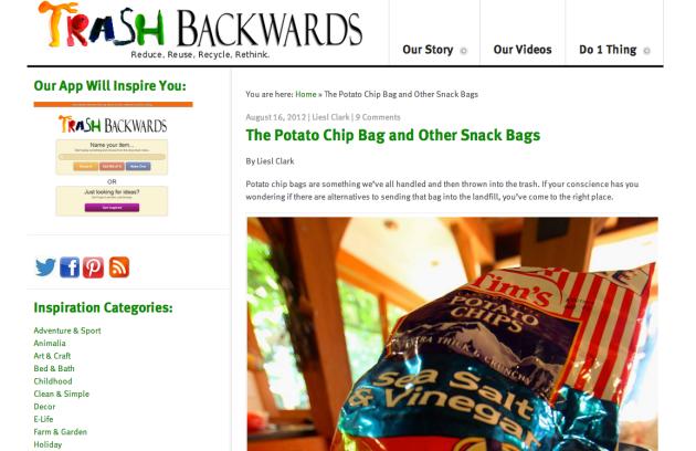 Click Through For More Chip Bag Reuses at Trash Backwards
