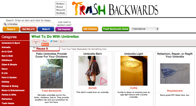 Click Through For Umbrella Reuses at Trash Backwards