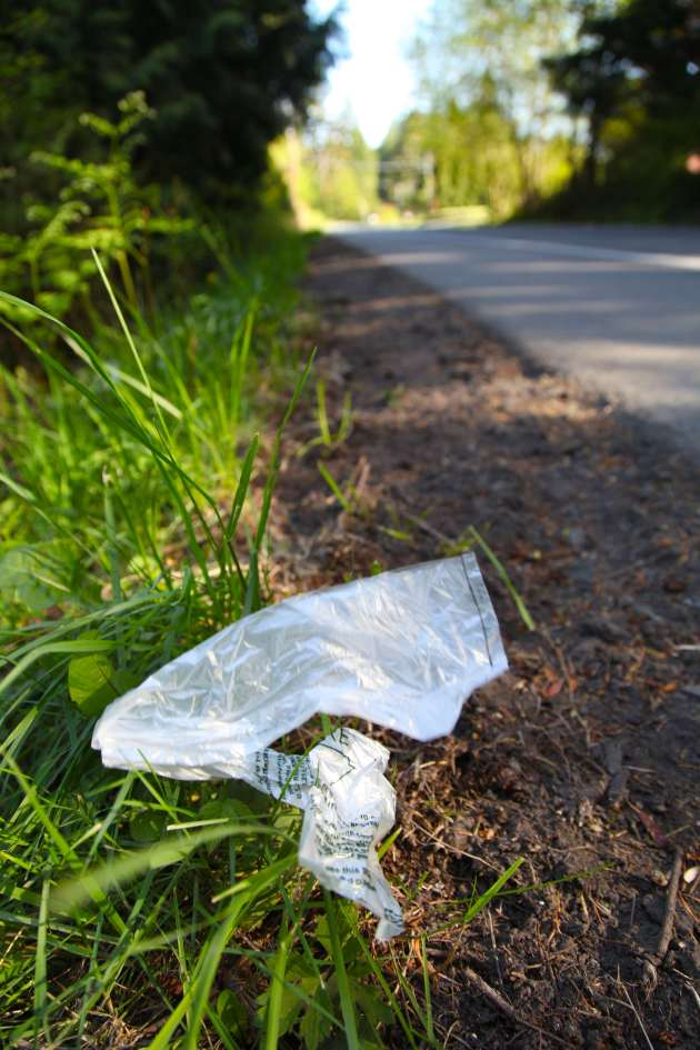 One of the 114 plastic bags littering a road on our island today.
