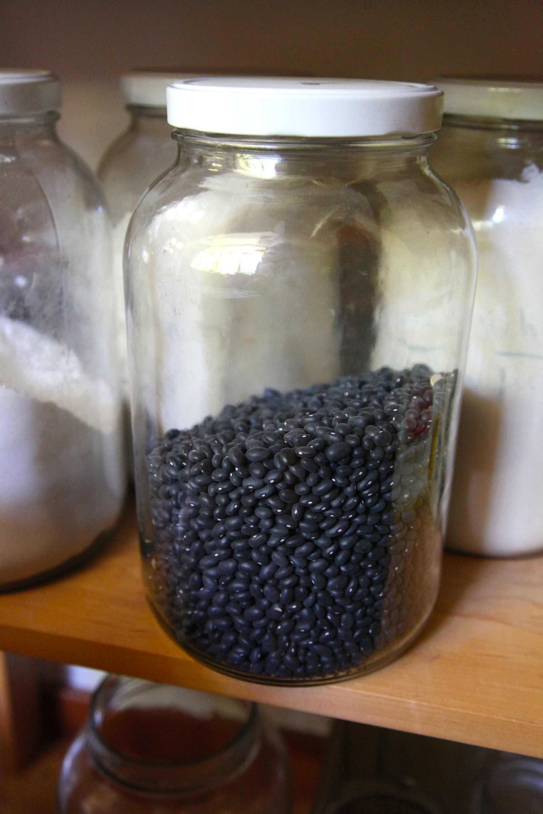 Bean Storage in Large Glass Jars. Photo © Liesl Clark