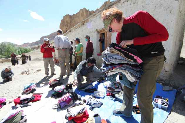 Socks, shoes, shirts, pants: It's all needed in the village of Samdzong. © Liesl Clark