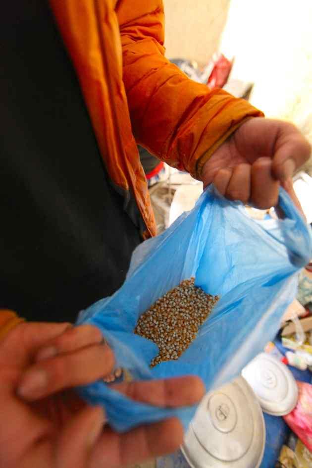 Popcorn bought in bulk from Kathmandu's Asan Tole Market. © Liesl Clark