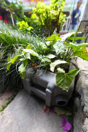 When this plastic water or fuel container broke, it was turned into a large planter.