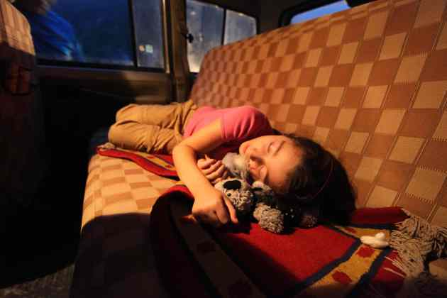 9-hour day in jeep will put any 7-year-old to sleep. © Liesl Clark