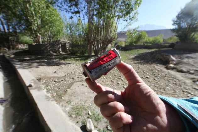 The ubiquitous battery. Pulled from Tsarang's water supply. © Liesl Clark