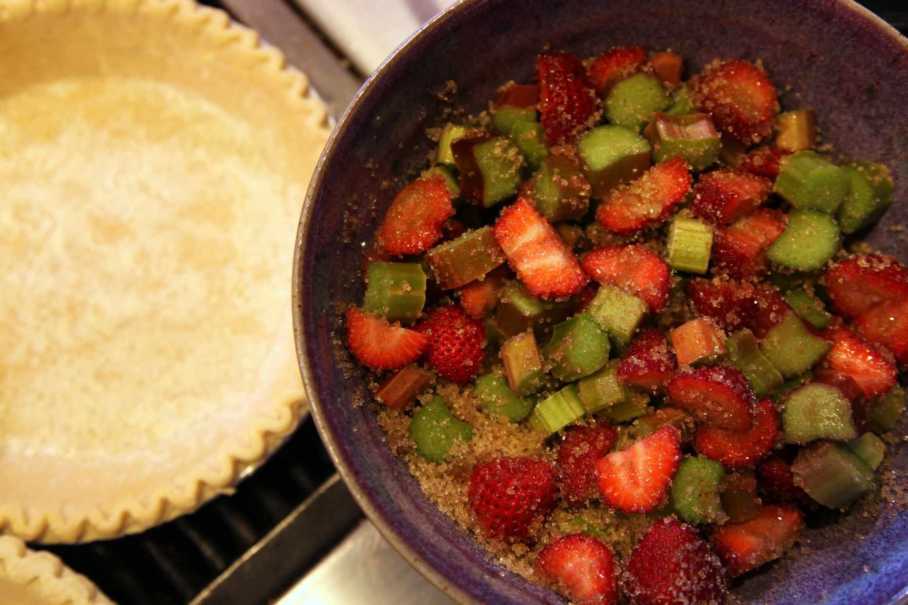 Strawberry rhubarb pie. © Liesl Clark